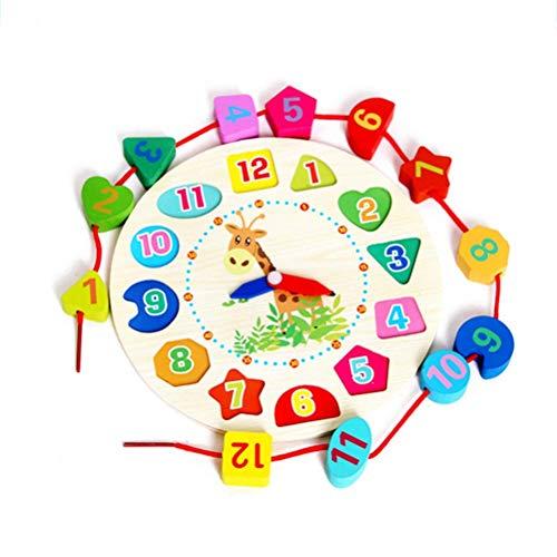 ZARRS Didattico Orologio in Legno,Giocattolo Orologio di Numero Forma Apprendimento Precoce Matematica Legno per Bambini 1 2 3 4 Anni