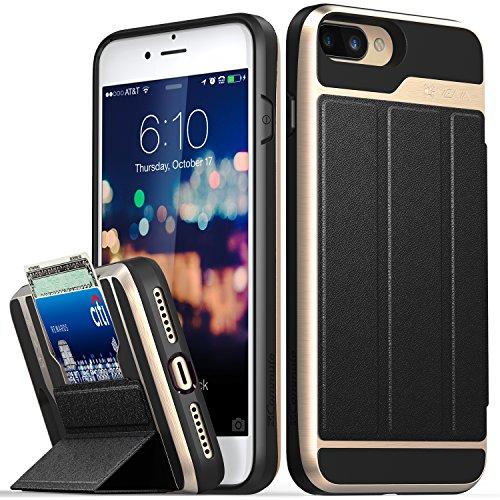 Vena iPhone 8 Plus Wallet Case, iPhone 7 Plus Wallet Case, [vCommute][Military Grade Drop Protection] Flip Leather Cover Card Slot w/Kickstand for Apple iPhone 8 Plus / 7 Plus (Gold/Black)