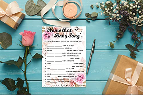 Baby Shower Games, Gender Reveal Party Supplies, (Name that Baby Song), Baby Shower Decorations, Gift – 30 Cards per Set (floral A001)