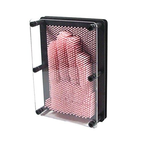 vosarea 3D Pin Art Skulptur 3D Pinpoint Impressions Metall Pin Art Pin Impression Hand Form Tolles Spielzeug für Kinder, große Größe (Pink)