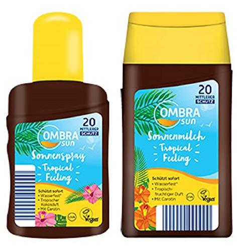 Ombia Sun Tropical Feeling Sonnenspray(Kokosduft) + Sonnenmilch(Tropicalduft) LSF 20 Sofortschutz+Wasserfest 2er-Set(1x200/1x250ml)