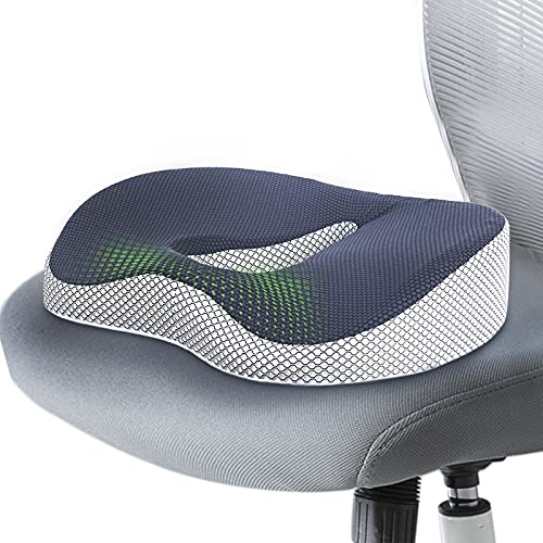 Ximoon Seat Cushion Memory Foam Office Chair Cushion for Desk Chairs Hemorrhoid Cushion for Tailbone Pain Relief Donut Pillow for Home, Office and Car