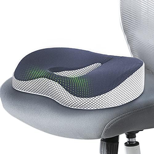 Ximoon Seat Cushion, Office Chair Cushion for Car Computer Desk, Memory Foam Seat Cushion for Tailbone Sciatica Back Pain Relief , Coccyx Butt Cushion for Wheelchair