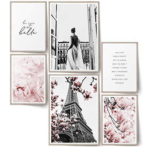 BLCKART Infinity Premium Rose Love Poster Set Stilvolle Doppelseitige Rosa Poster Wohnzimmer Deko Blumen Paris (Rose Love   6er, Ohne Rahmen)