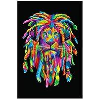 水彩画ライオンアートポスターとプリント抽象的な動物キャンバスアート壁画リビングルームの装飾のためのクールなライオンの髪の写真-60x90cmx1フレームなし