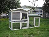 BUNNY BUSINESS The Grove Grey Double Decker Rabbit/Guinea Pig Hutch and Run EXTRA DEPTH