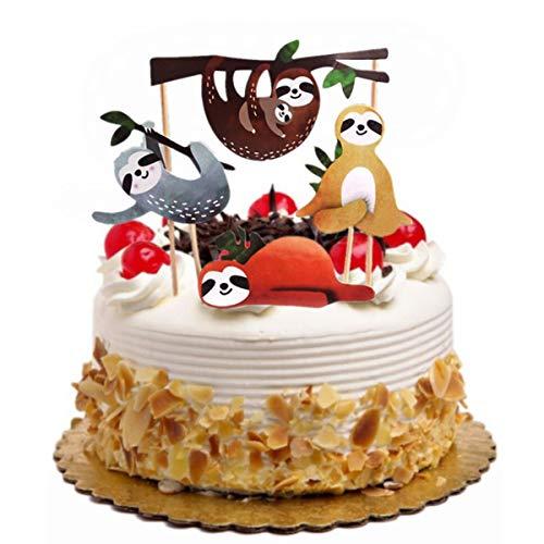 YeahiBaby 4 stücke faultier Kuchen Topper Set kreative niedlichen dekor acake einsatzkarte für Geburtstag Party Festival
