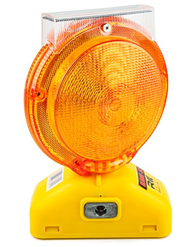 (One Ea) RK Safety BLIGHT-ST Solar Rechargeable Barricade Amber LED Warning Lights | Traffic signal Flashing 2-Sided Visibility, Type A/C, 3-Way Operation Switch | W/Switch Pin and Bolt