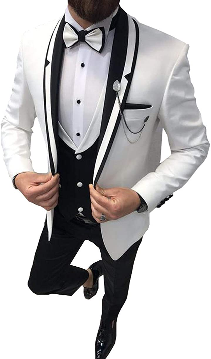 Frank Men's Suit Formal 3 Pieces Slim Fit Shawl Lapel Solid Prom Tuxedos Wedding Groomsmen (Blazer+Vest+Pants)