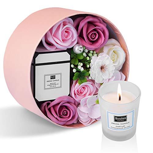 ANBET Scatola Rotonda con Fiori di Sapone da Donna con Candele profumate Rosa Artificiale e Cera vegetale Naturale Aroma
