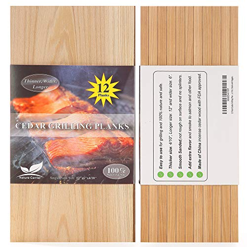 """12 Pack Cedar Grilling Planks with Thicker (4/10"""") & Larger (12""""x 6"""") Size. Add Extra Flavor and Smoke to Salmon - BBQ China Incense Cedar Planks for Grilling Salmon, Fish, Steak and Veggies."""