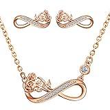 Yumilok Juego de collar y pendientes para mujer, de plata de ley 925 con colgante de infinito rosa para mujer, Plata esterlina Circonita,