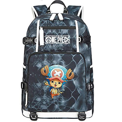 ZZGOO-LL One Piece Monkey·D·Luffy/Tony Tony Chopper Backpack Casual Rucksack Waterproof Business Travel with USB Unisex-F