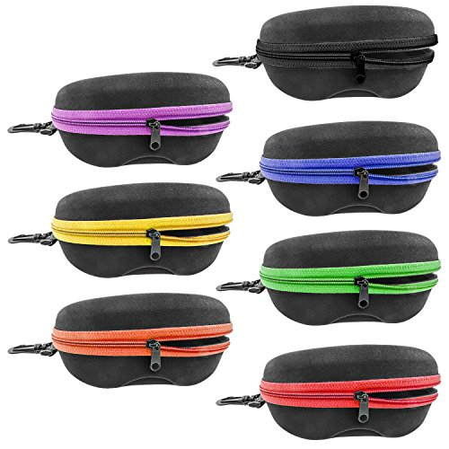 INNOLIFE Set of 7pcs in Mixed Colors, Zipper Shell Sunglasses Glasses Case with Plastic Carabiner Hook