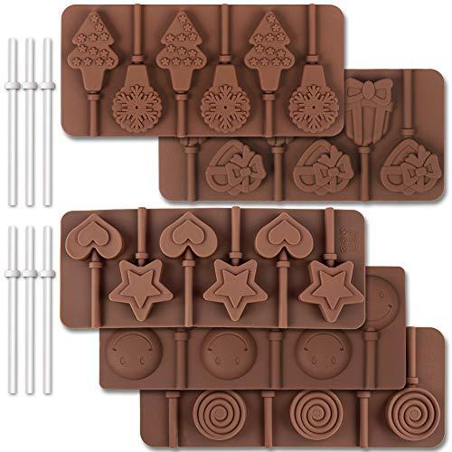 Cozihom - Stampo in silicone per lecca-lecca a 6 cavità, per cioccolato, rotondo, stelle, cuori, fiocchi, Natale, faccine sorridenti, 5 pezzi e 130 bastoncini per lecca-lecca