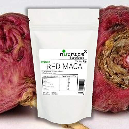 Nutrics® Orgánico 100{2867da40e45bd0258441fead5fff2d93e9545a42bfabda4eaa78ed299f87757f} puro polvo de raíz de MACA rojo 600 g Superalimento Ginseng peruano – Origen Perú – Nutrics Superfoods