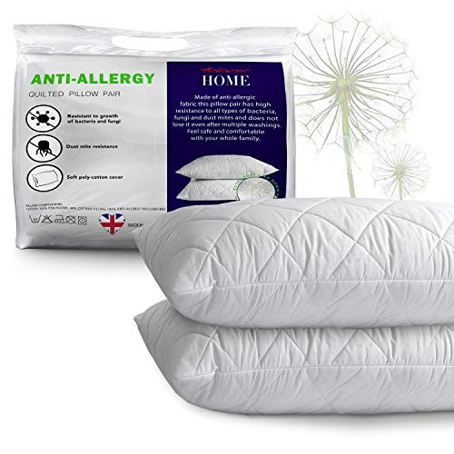 Adam Home Pillows 2 Pack Hotel Quality with Quilted Cover- Premium Filled Pillows for Side, Stomach and Back Sleeper, Down Alternative Bed Pillow-Soft Hollow-Fiber Hotel Pillows