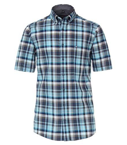 Casa Moda - Comfort Fit - Herren kurzrarm Freizeit Hemd kariert mit Button Down Kragen (903444700), Farbe:Türkis (350), Größe:M