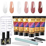 Polygel Nail Kit, AIFAIFA All-in-One Nail Extension Gel Starter Kit for Beginner with 6 Color Polygel and Basic Nail Tools, for Professional Nail Tech and Home DIY Nail Lover
