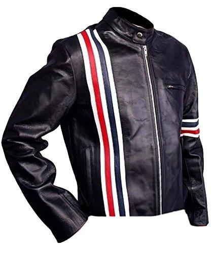 SleekHides Herren Mode USA Flagge Captain Easy Rider Lederjacke -  Schwarz -  Medium/Brust 102 cm/ 107 cm