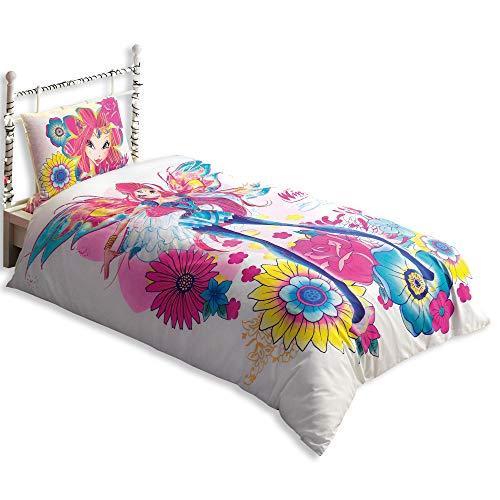 Original Lizenziert Bettwäsche-Set, Design Winx Magic Bloom, Single Größe, 100% Baumwolle, 3-Teilig (Bettbezug + Spannbettlaken + Kissenbezug)