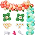 Tropical Theme Balloon Garland Arch Kit, Hawaii Jungle Luau Balloon Garland with Palm Leaves Plumeria for Moana Theme Party Aloha Tropical Party Decorations Kids Baby Shower Birthday Party Supplies from FHzytg