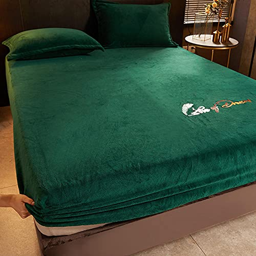 Suave sedoso brillante   Ropa de cama de lujo, sábanas bajeras de terciopelo leche, alfombrilla antideslizante para dormitorio, apartamento, hotel, protector de colchón, verde _2_120 x 200 cm