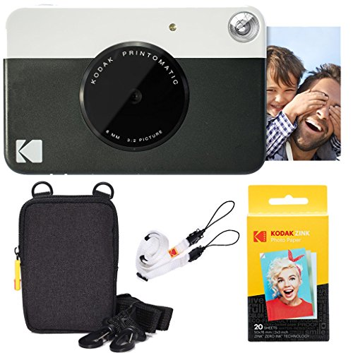 Kodak Printomatic Instant Camera (Black) Basic Bundle + Zink Paper (20 Sheets) + Deluxe Case + Comfortable Neck Strap