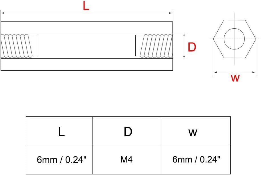 sourcing map 10pcs Espaciador separador hexagonal Lat/ón Rosca hembra PCB Soporte recto