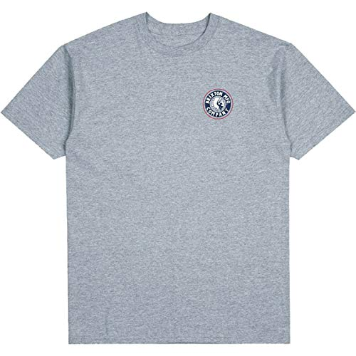 Brixton Men's T-Shirt, Heather Grey/Washed Navy, S