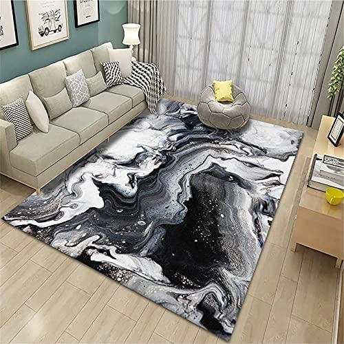 alfombras Salon Grandes,Alfombras en Blanco y Negro, Patrón de Tinta Sonido de Sonido Fácil de Limpiar Bebé Crawling Easy Vacuum Carpet ,Alfombra Cocina -Negro_80x120cm