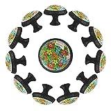 Pomos para cajones de tocador Pomos de puerta Pomos de armario Estilo romántico de la flor colorida Armario de bricolaje, cocina, baño, armario, tiradores con tornillos, 12 piezas