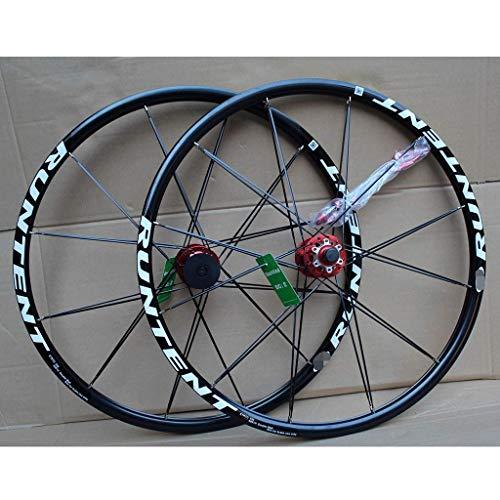 TYXTYX Juego de Ruedas de Bicicleta de 26 Pulgadas, Doble Capa, llanta MTB, rodamiento Sellado, Freno de Disco, liberación rápida para 8-10 velocidades, Cassette, Volante, Bicicleta 24H