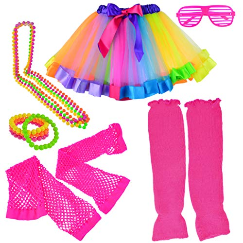 Miayon Kids 6 in 1 Costume Accessories 1970s 1980s Fancy Outfits and Dress for Cosplay Party Theme Party for Girl Rainbow