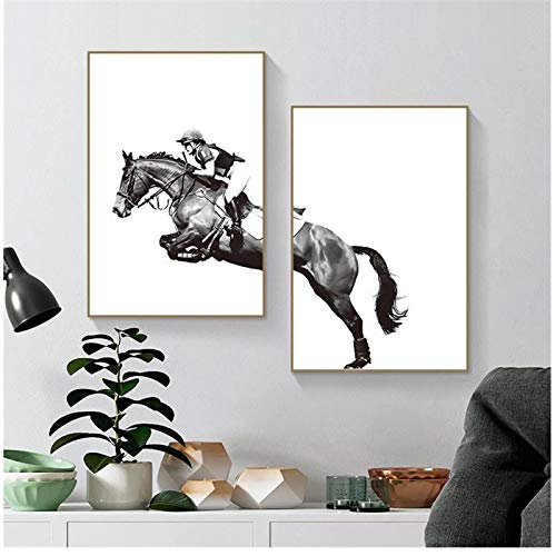 cuadros decoracion salon Caballo de montar en blanco y negro Hombre Carrera de caballos Póster Impresión en lienzo Pintura Arte de la pared Sala de estar Decoración del hogar 19.7x19.7in (50x50cm) x3