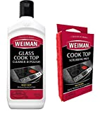 Weiman Ceramic and Glass Cooktop Cleaner - Heavy Duty Cleaner and Polish (10 Ounce Bottle and 3...