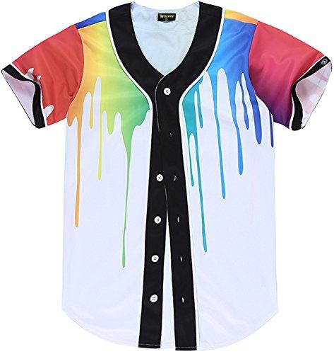 PIZOFF Short Sleeve Arc Bottom 3D Rainbow Splatter Paint Print Baseball Jersey Shirt Y1724-38-M