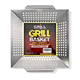 Heavy Duty Stainless Steel Grill Basket - Large, Thick Bbq Vegetable Grilling Basket Is Perfect For...