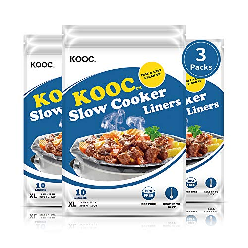 [NEW] KOOC Disposable Slow Cooker Liners and Cooking Bags, Extra Large Size Fits 6-10QT Pot, 14'x 22', 3 Packs (30 Counts), Fresh Locking Seal Design, Suitable for Oval & Round Pot, BPA Free