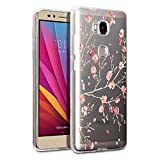 WenJie Coque Honor 5X Rose Plum Fleur Transparent Ultra Slim TPU Coque de Protection Etui Silicone Gel Case Shell pour Huawei...