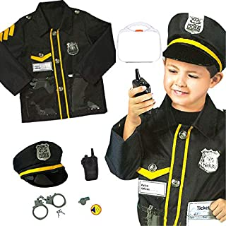 Yalla Baby 6PCS Kids Deluxe Police Officer Costume and Role Play Kit for Kids Boys Dress Up Costumes Set - Gift Idea (3-8 ...
