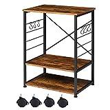 EPHEX Küchenregal auf Rollen, Servierwagen, Mikrowellenregal mit 3 Regalböden Industrie-Design, X-förmiger Stabiler Rahmen, mit 6 Haken, Vintage Braun