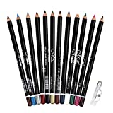DC-BEAUTIFUL 12Pcs Lot Set 12 Colors Eyeliner Pencil Waterproof Eyebrow Pencil Cosmetics with a Pencil Sharpener