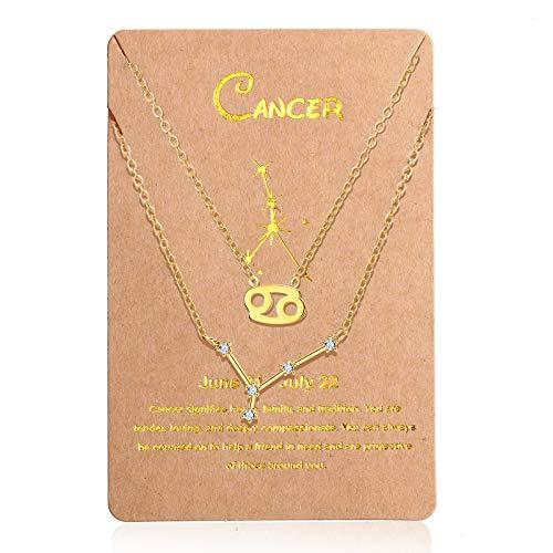 2 Pièces Colliers à Pendentif Signe du Zodiaque Colliers 12 Pléiade Colliers en Cristal d Horoscope d Astrologie Argent Or avec Carte de Pléiade pour Saint-Valentin (Cancer)