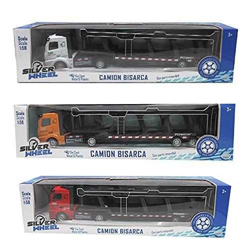 ODS-41407 Camion Bisarca in Scala 1:58, in Die Cast, a retrocarica, con Parti Removibili, Colore Assortiti, 41407