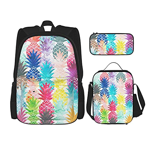 New Hawaiian Tropical Pineapple Watercolor Print Best Gift For Students 3 In 1 Set /15.6 Inch Water Resistant Backpacks/Big Capacity Pencil Cases/Insulated Lunch Bag For Women/Men