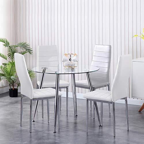 GOLDFAN Grupo de Comedor con Mesa de Comedor de Cristal y 4 Sillas de Comedor Mesa de Cristal y Silla Blanca Mesa Redonda para Salón Cocina
