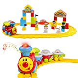 DeXop Baby Toys Train Set-Musical Electric Train with Tracks &Building Blocks - Toddler Train Educational Preschool Learning Gift for Boys &Girls-Cars Toy for Kids Birthday