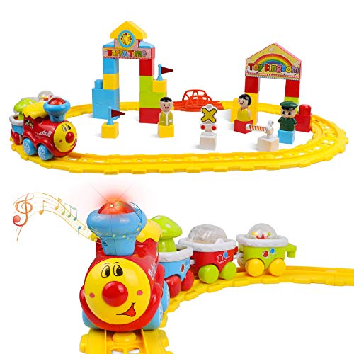 DeXop Baby Toys Train Set-Musical Electric Train with Tracks Building Blocks-Toddler Train Educational Preschool Learning Gift for 12 18 Month 1 2 3 4 5 Year Old Boys Girls-Cars Toy for Kids Birthday