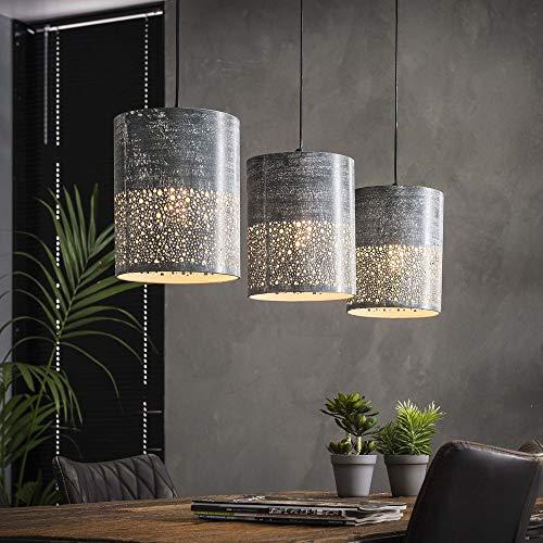 famlights Deckenleuchte Modern Design | Vintage Lampe grau| Lampe Küche / 3-flammig Dimmbar Fassung: E27 Industrieleuchten | Küchenlampen Deckenleuchte / E27